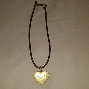 Coach Gold Pendant leather necklace